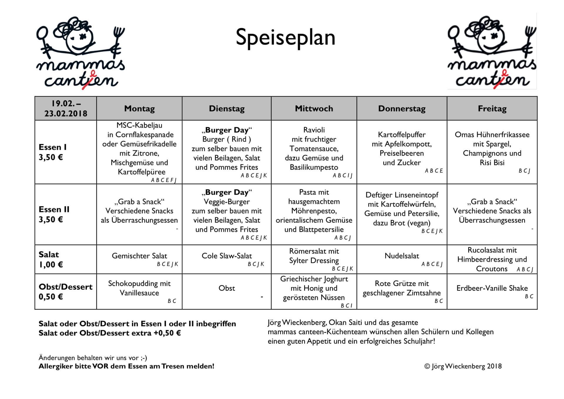 mammas canteen Speiseplan 19.02. -23.02.2018-1