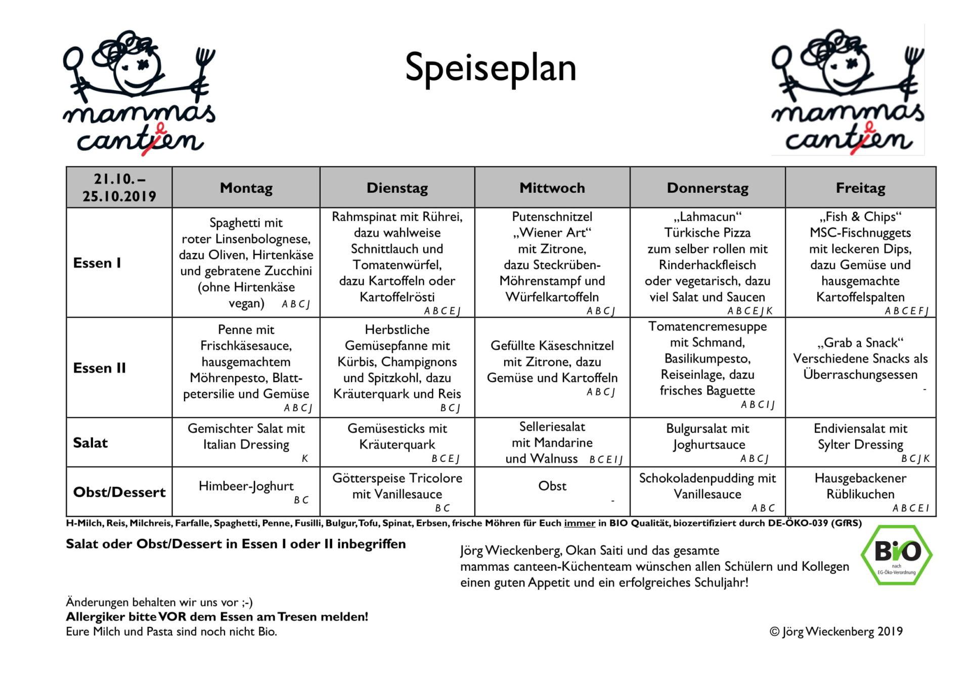 mammas canteen Speiseplan 21.10. -25.10.2019-1