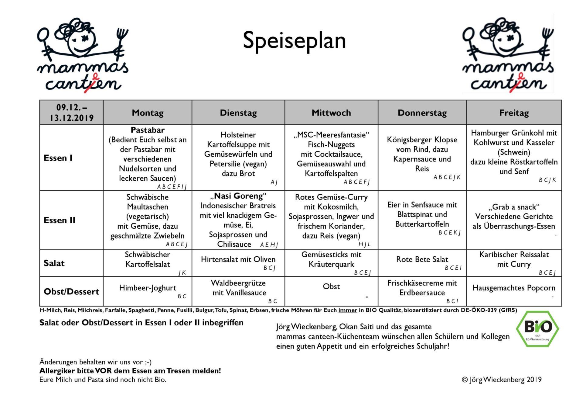 mammas canteen Speiseplan 09.12. -13.12.2019